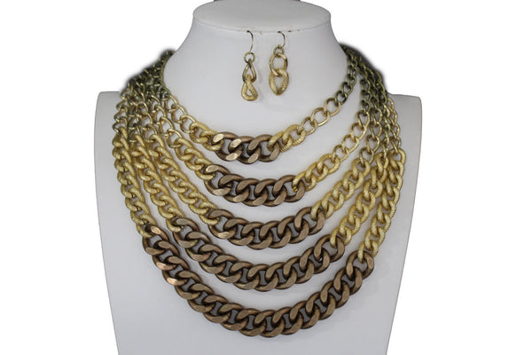 Gold Bronze Chunky Metal Chains 5 Strand Necklace + Earrings Set new Women  Fashion Jewelry - alwaystyle4you - 10