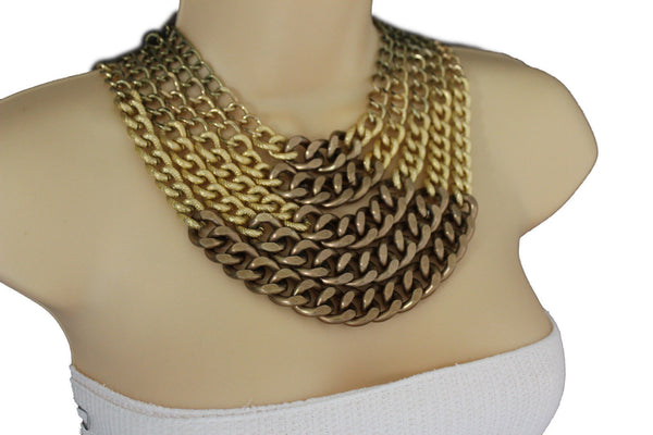 Gold Bronze Chunky Metal Chains 5 Strand Necklace + Earrings Set new Women  Fashion Jewelry - alwaystyle4you - 11