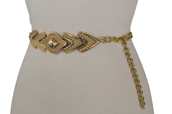 Gold Links Waistband Waist Belt Lozenge Shaped Buckle Women Accessories Plus Size M L XL