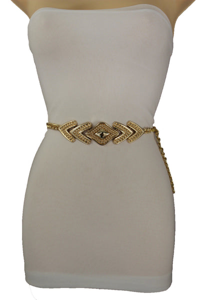 Gold Metal Chain Links Waistband Waist Belt Lozenge Shaped Buckle New Women Fashion Accessories Plus Size M L XL