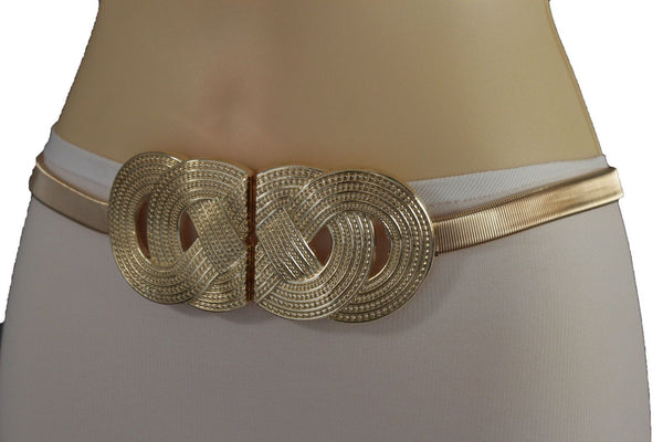 Silver Gold Metal Band Elastic Hip Waist Belt Big Braid Buckle New Women Accessories Plus Size