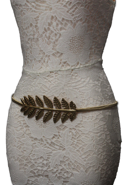 Silver / Gold Metal Hip High Waist Elastic Narrow Belt Wide Leaf Buckle New Women Fashion Accessories S M - alwaystyle4you - 22
