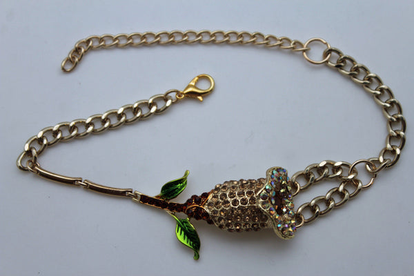 Gold Metal Boot Chain Bracelet Floral Shoe Strap Charm Lily Flower Fancy New Women Accessories