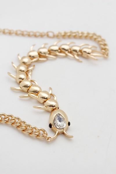 Women Gold Metal Boot Chain Bracelet Long Centipede Multi Legs Shoe Bling Charm New Women Check Trendy Fashion Accessories