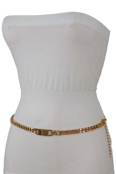 Women Gold Metal Chain Links Fashion Classy Charm Buckle Belt Hip Waist XS S M