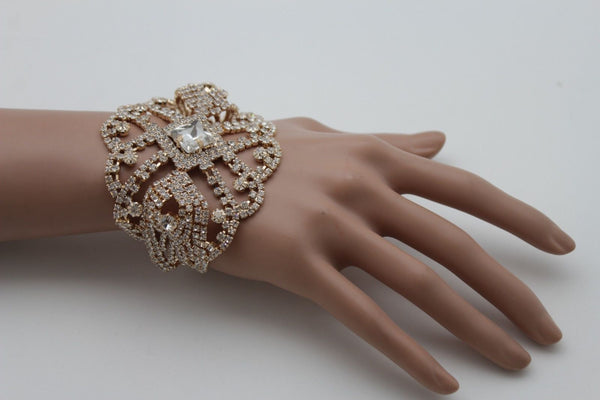 Gold Metal Chains Bracelet Rhinestones Star Beads Bridal Wedding New Women Accessories