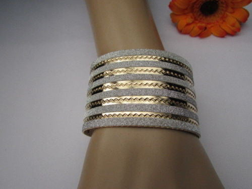 Gold Metal Cuff Bracelet Horizontal Silver Glitter Multi Stripes Fashion New Women Jewelry Accessories - alwaystyle4you - 3