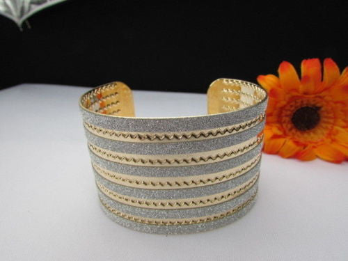 Gold Metal Cuff Bracelet Horizontal Silver Glitter Multi Stripes Fashion New Women Jewelry Accessories - alwaystyle4you - 4