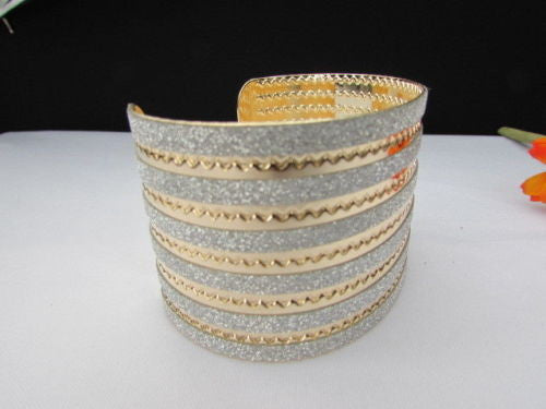Gold Metal Cuff Bracelet Horizontal Silver Glitter Multi Stripes Fashion New Women Jewelry Accessories - alwaystyle4you - 6