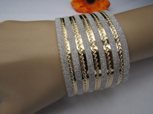 Gold Metal Cuff Bracelet Horizontal Silver Glitter Multi Stripes Fashion New Women Jewelry Accessories - alwaystyle4you - 1