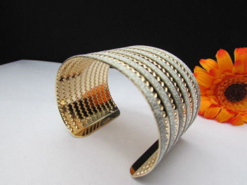 Gold Metal Cuff Bracelet Horizontal Silver Glitter Multi Stripes Fashion New Women Jewelry Accessories - alwaystyle4you - 9