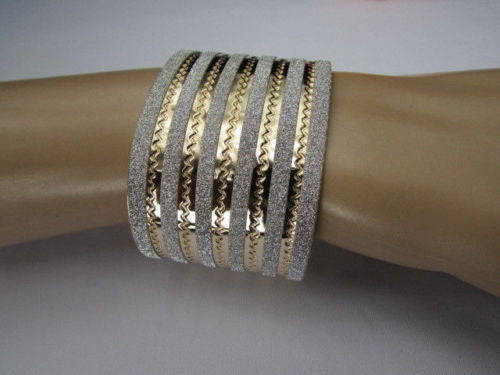 Gold Metal Cuff Bracelet Horizontal Silver Glitter Multi Stripes Fashion New Women Jewelry Accessories - alwaystyle4you - 10