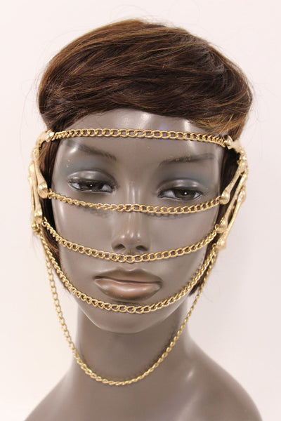 Gold Metal Head Chain Elastic Cover Face Mask Gold Skeleton Hand New Women Accessories