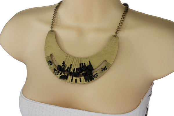 Silver / Gold Metal Chain Plate Black Stone Bead Necklace + Earrings Set New Women Fashion Jewelry - alwaystyle4you - 14