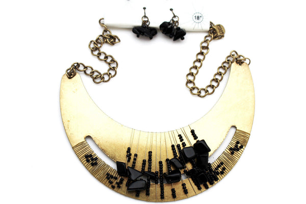 Silver / Gold Metal Chain Plate Black Stone Bead Necklace + Earrings Set New Women Fashion Jewelry - alwaystyle4you - 4