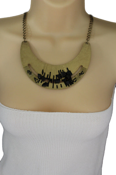 Silver / Gold Metal Chain Plate Black Stone Bead Necklace + Earrings Set New Women Fashion Jewelry - alwaystyle4you - 5