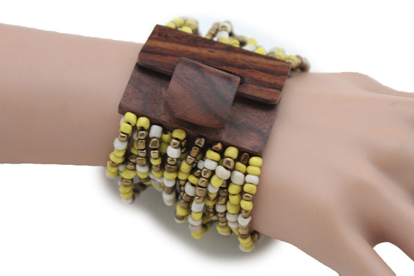 Gold Yellow / Pewter / Black White Gold / Off White / Blue / Green Bead Wrist Wide Bangle Bracelet Elastic Band Brown Wood Buckle New Women - alwaystyle4you - 41