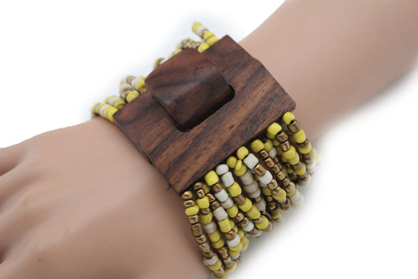 Gold Yellow / Pewter / Black White Gold / Off White / Blue / Green Bead Wrist Wide Bangle Bracelet Elastic Band Brown Wood Buckle New Women - alwaystyle4you - 43