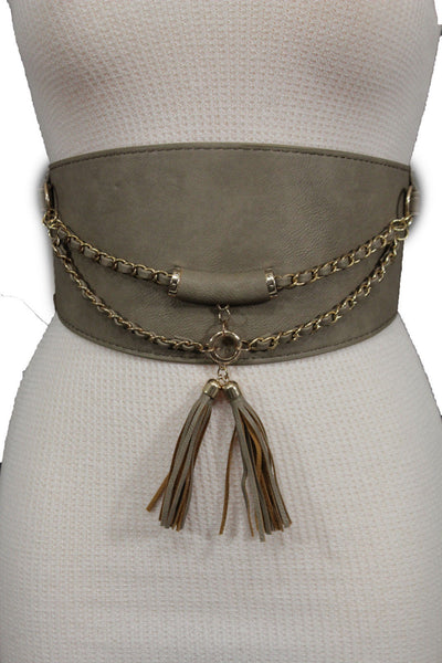 Black / Gray Faux Leather Stretch Back Hip Waist Wide Corset Belt Gold 2 Rows Chains Fringes Western Style New Women Fashion Accessories S M - alwaystyle4you - 19