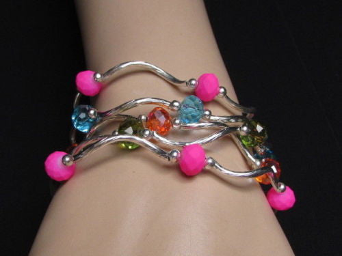 Five Bangles Set Bracelets 3 Colors To Choose New Women Fashion Jewelry Accessories - alwaystyle4you - 1