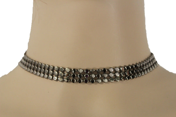 Pewter Gunmetal Mesh Metal Short Sexy Choker Necklace Blue Rhinestones New Women Fashion Jewelry Accessories