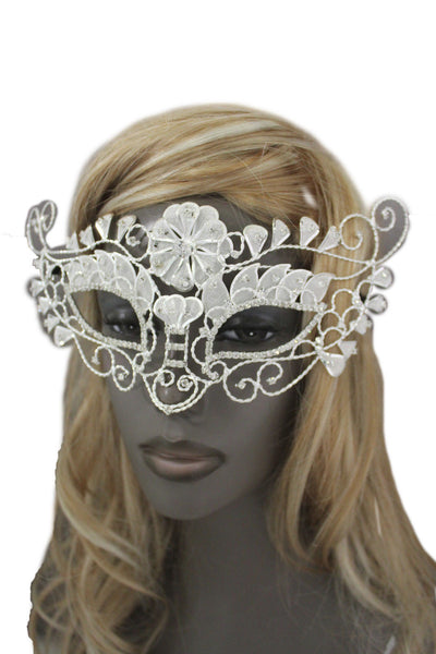 White Silver Leaves And Flower Back Tie Half Face Mask Halloween Carnival Costume Accessories