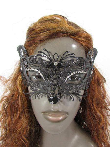 Black Metal Fox Face Multi Rhinestones Back Tie Women Halloween Carnival Accessories