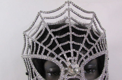 Silver Metal Full Big Spider Web Costume Face Mask Halloween Carnival Women Accessories