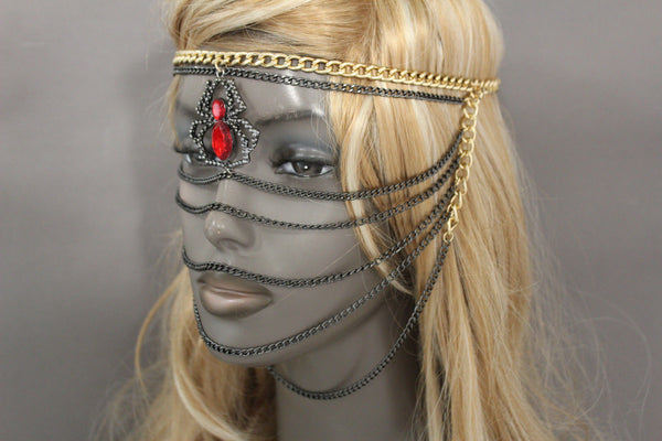 Gold Metal Head Chain Elastic Face Mask Black Web Red Spider New Women Accessories