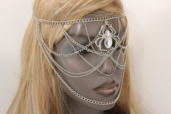 Silver Metal Head Chain Elastic Face Mask Silver Web Clear Spider Halloween Accessories