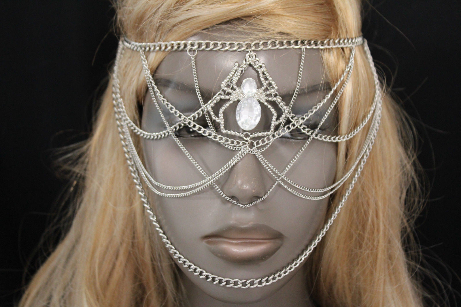 Silver Metal Head Chain Elastic Face Mask Silver Web Clear -1962
