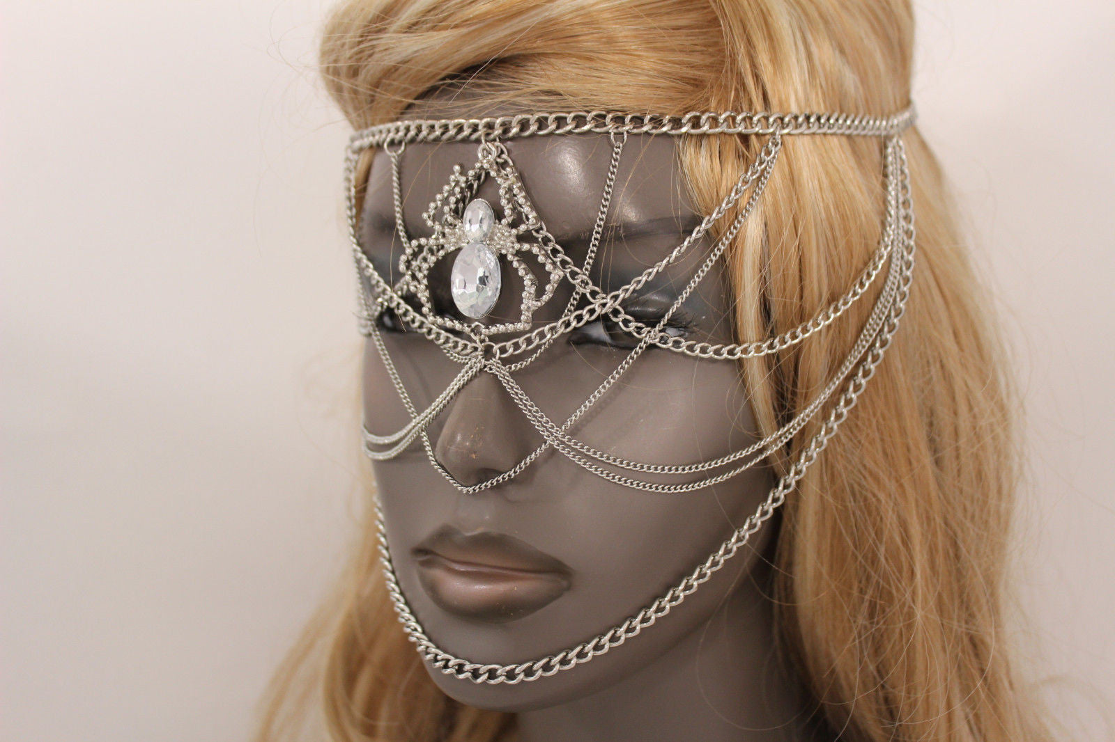 Silver Metal Head Chain Elastic Face Mask Silver Web Clear Spider ...