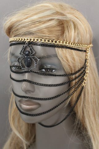 Gold Metal Head Chain Elastic Face Mask Black Web Spider Halloween Women Accessories