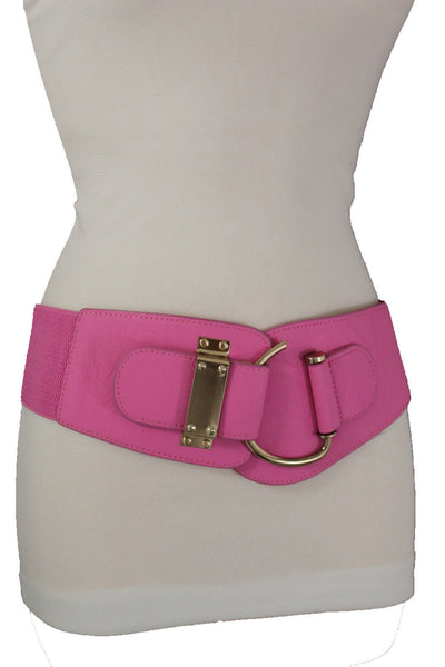 Navy Blue Black Red Gold Pink Gray Faux Leather Elastic Belt Big Gold Hook Buckle Women Accessories S-M