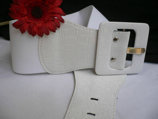 White Belt Hip Elastic Waistband Waist Stretch Fabric Square Buckle Women Accessories
