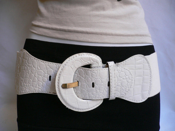 White Crocodile Stamp Hip High Waist Wide Elastic Belt Round Buckle Women Accessories M-XL