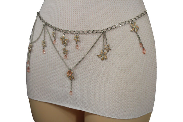 Silver Metal Chains Hip Waist Fashion Belt Black / Blue / Nude Drop Flowers Charms New Women Fashion Accessories XS S M - alwaystyle4you - 8
