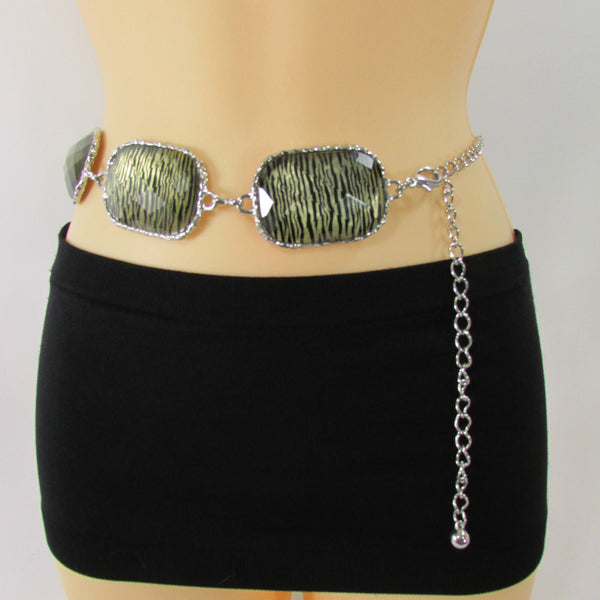 Gold / Silver Metal Chain Hip Waist Belt Zebra Print Charms New Women Fashion Accessories XS S M L - alwaystyle4you - 7
