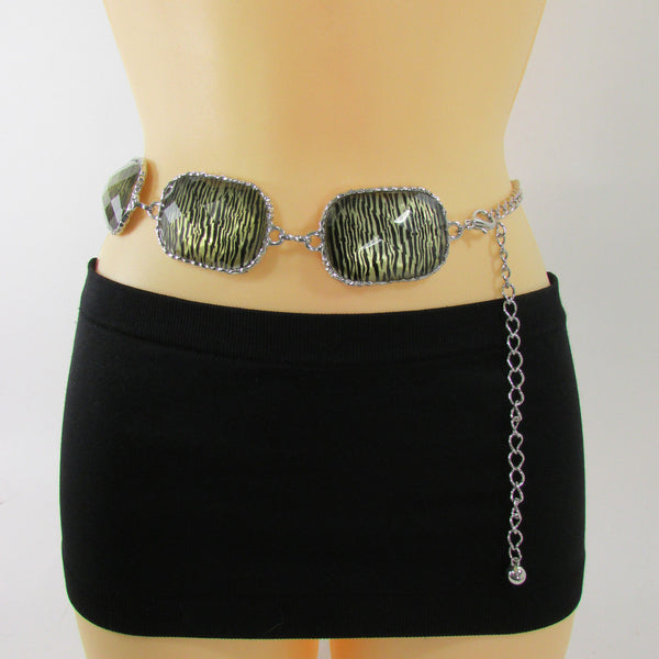 Gold / Silver Metal Chain Hip Waist Belt Zebra Print Charms New Women Fashion Accessories XS S M L - alwaystyle4you - 5