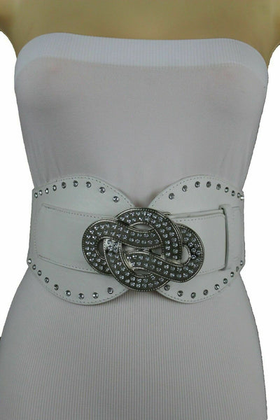 New Women White Color Corset Belt Hip High Waist Silver Metal Infinity Buckle S M