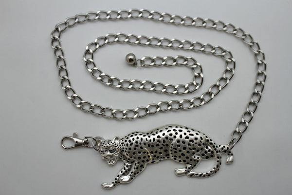 Silver Metal Chain Links Hip Waist Thick Belt Tiger Buckle New Women Style Fashion Accessories