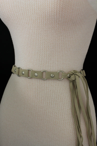 Ivory Beige Tie Hip High Waist Long Faux Suede Belt Silver Metal Rings New Women Fashion Accessories S M - alwaystyle4you - 10