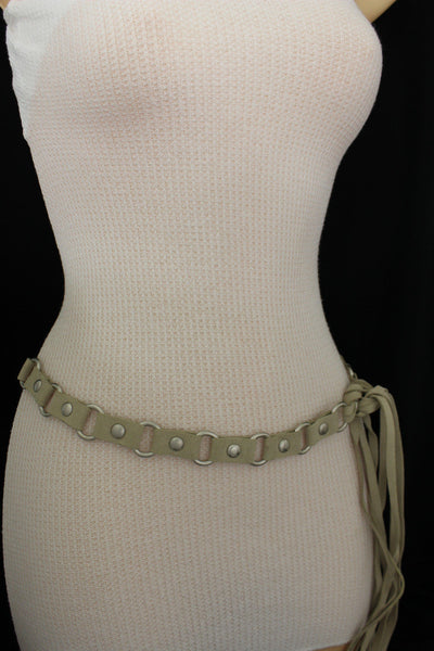 Ivory Beige Tie Hip High Waist Long Faux Suede Belt Silver Metal Rings New Women Fashion Accessories S M - alwaystyle4you - 12