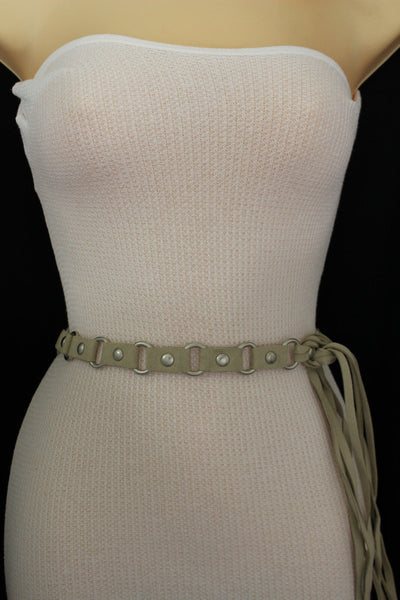 Ivory Beige Tie Hip High Waist Long Faux Suede Belt Silver Metal Rings New Women Fashion Accessories S M - alwaystyle4you - 3