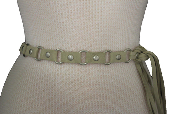 Ivory Beige Tie Hip High Waist Long Faux Suede Belt Silver Metal Rings New Women Fashion Accessories S M - alwaystyle4you - 4