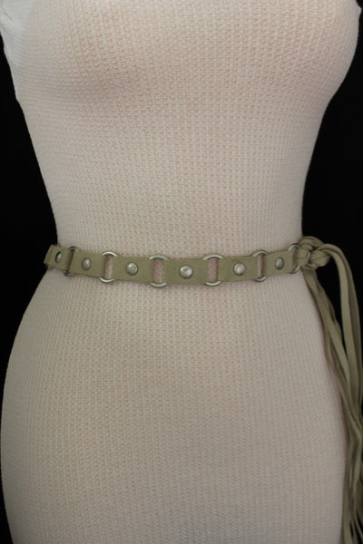 Ivory Beige Tie Hip High Waist Long Faux Suede Belt Silver Metal Rings New Women Fashion Accessories S M - alwaystyle4you - 6