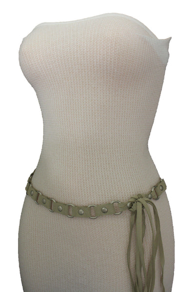 Ivory Beige Tie Hip High Waist Long Faux Suede Belt Silver Metal Rings New Women Fashion Accessories S M - alwaystyle4you - 9