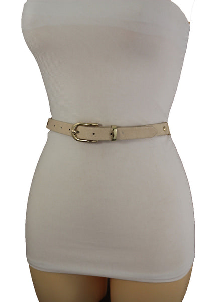 Women Black Brown Cream Narrow Belt Gold Metal Chain Links Buckle Hip High Waist Fashion Accessories S M