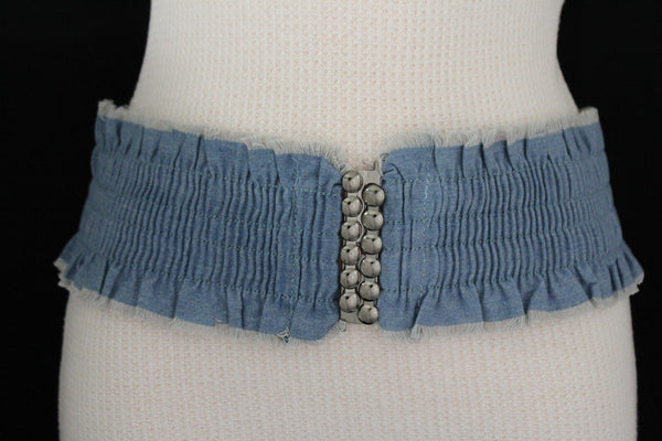 Black Light Blue Dark Blue Denim Stretch Fabric Elastic Hip High Waist Belt + Fringes New Women Fashion Accessories S M - alwaystyle4you - 2
