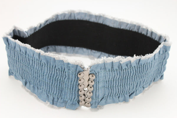 Black Light Blue Dark Blue Denim Stretch Fabric Elastic Hip High Waist Belt + Fringes New Women Fashion Accessories S M - alwaystyle4you - 6